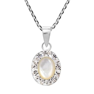 Oval Mother of Pearl Crystal Frame .925 Silver Necklace (Thailand)