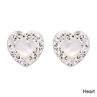 Glowing Mother of Pearl Crystal Frame .925 Silver Earings (Thailand)