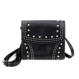 Olivia Miller 'Zia' Multicolor Polyester/Faux Leather Studded Crossbody Bag