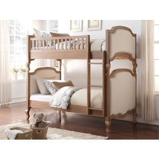 Charlton Cream Linen and Salvage Finish Oak Twin Over Twin Bunk Bed