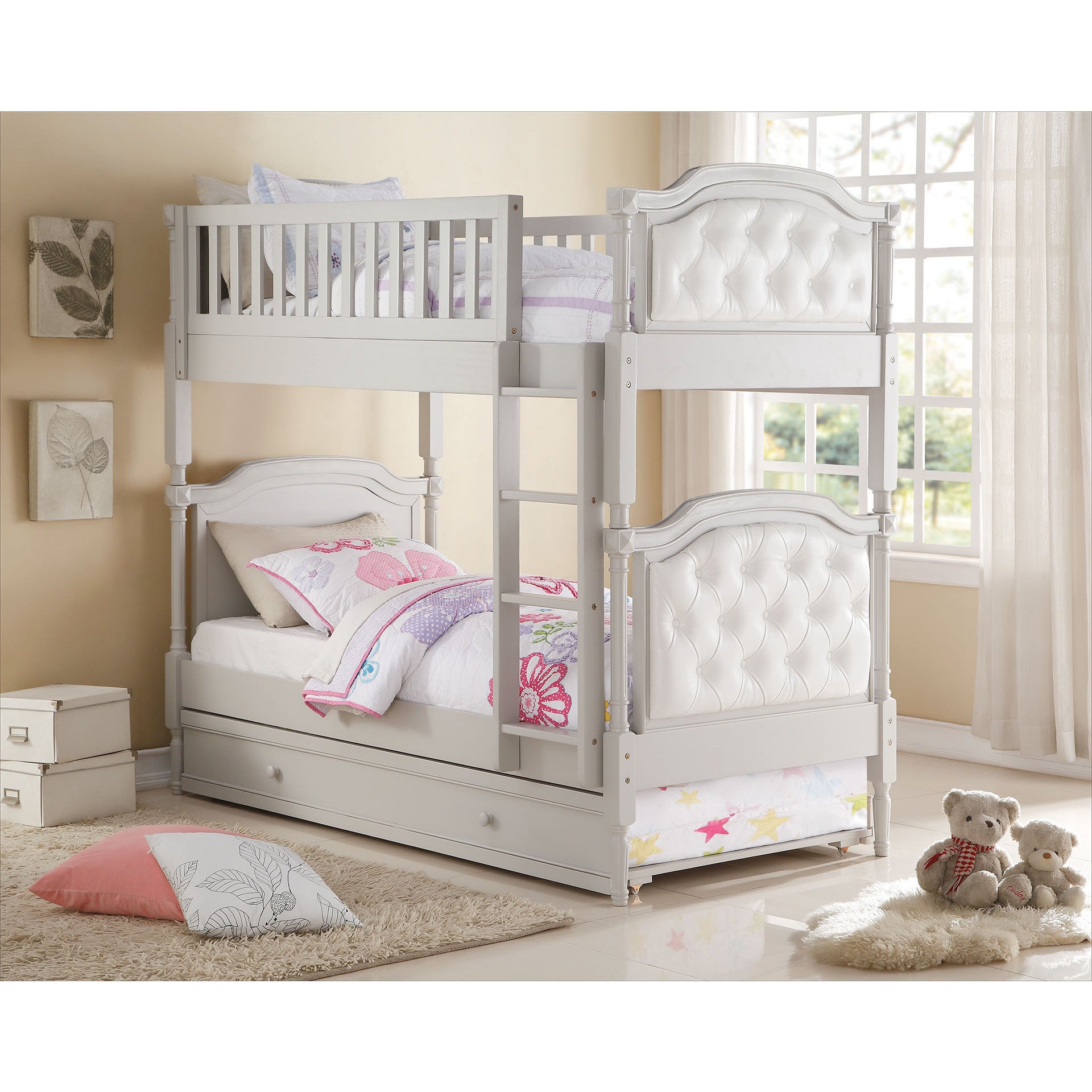 Picture of: Pearlie Pu Grey Pearl White Twin Over Twin Bunk Bed With Optional Trundle Overstock 12683827 Twin Trundle Only