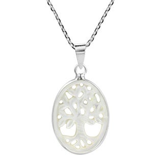 Tree of Life Carved Natural Stone .925 Silver Necklace (Thailand)