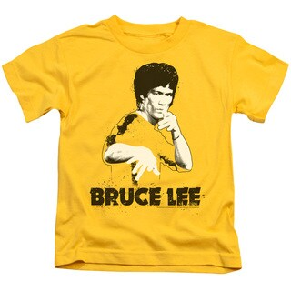 Bruce Lee/Suit Splatter Short Sleeve Juvenile Graphic T-Shirt in Yellow