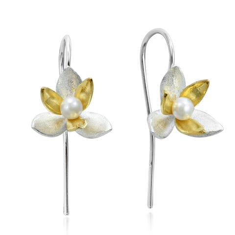 Handmade Two Tone Pearl Orchid Gold Overlay 925 Silver Earrings (Thailand)