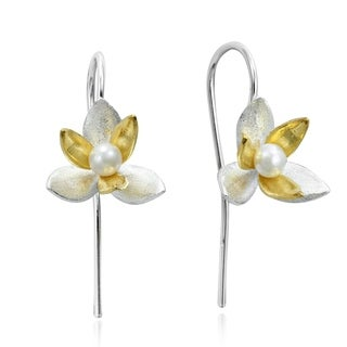 Two Tone Pearl Orchid Gold Overlay 925 Silver Earrings (Thailand)