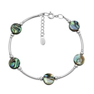 Handmade Round Links of Natural Stones Sterling Silver Bracelet (Thailand)