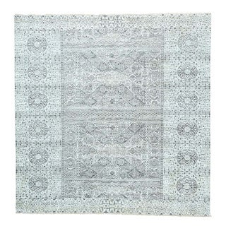 Hand-Knotted Mamluk Design Undyed Natural Wool Square Rug (10' x 10')