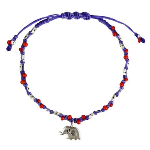 Handmade Thai Elephant Karen HillTribe Sterling Silver Royal Rope Bracelet (Thailand)