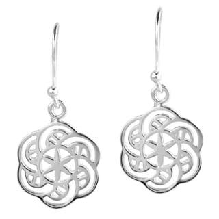 Handmade New Age Balance Flower of Life .925 Silver Dangle Earrings (Thailand)