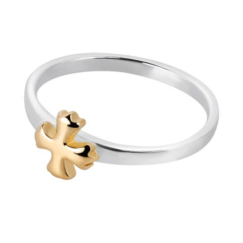 Handmade Peaceful Balanced Cross Gold Over Sterling Silver Ring (Thailand)
