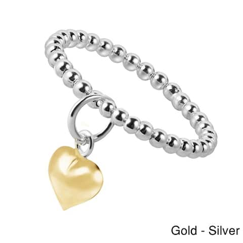Handmade Cute Gold Dangle Heart Eternity Bead Ball .925 Sterling Silver Ring (Thailand)