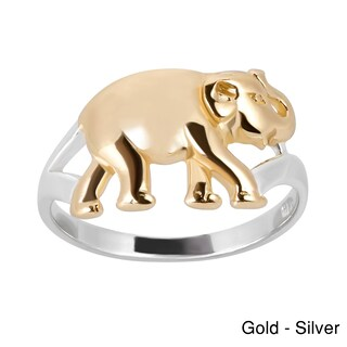 Handmade Virtuous Two Tone Elephant Gold over Sterling Silver Ring (Thailand) (More options available)