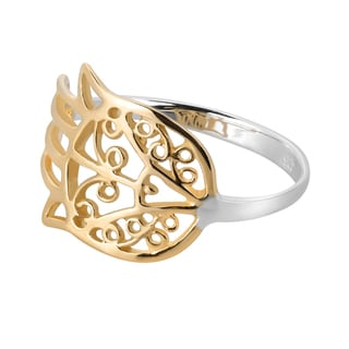 Handmade Hamsa Hand Of Protection Gold Over .925 Sterling Silver Ring (Thailand)