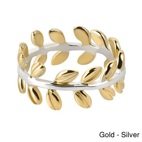 Handmade Serenity Two Tone Leaf Wrap Ivy Band Sterling Silver Ring (Thailand)