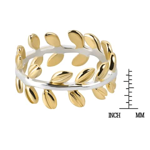 Handmade Serenity Leaf Wrap Ivy Band Gold over .925 Sterling Silver Ring (Thailand)