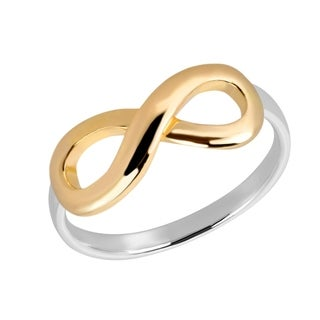 Handmade Two Tone Infinity Love Rose Gold over .925 Sterling Silver Ring (Thailand)