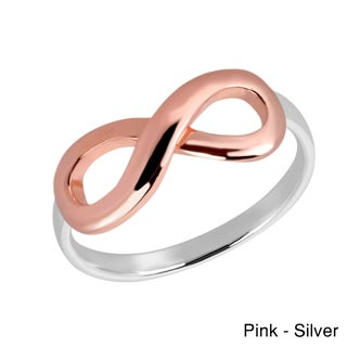 Handmade Two Tone Infinity Love Rose Gold over .925 Sterling Silver Ring (Thailand) (More options available)