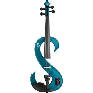 Stagg EVN 4/4 Metallic Blue Silent Violin Set with Soft Case and Headphones