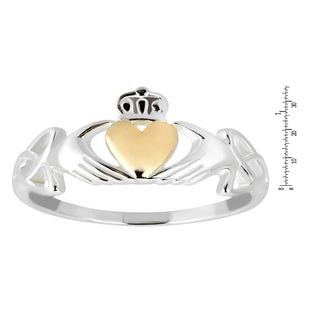 Handmade Celtic Claddagh Love Heart Gold Over .925 Sterling Silver Ring (Thailand)