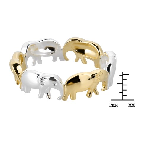 Handmade Two Tone Elephant Line Up Gold over .925 Sterling Silver Ring (Thailand)