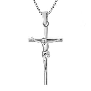 Faithful Devotion Crucifix Cross Sterling Silver Necklace (Thailand)