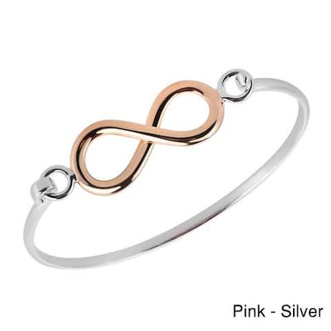Handmade Eternal Love Infinity Gold Over .925 Sterling Silver Bangle Bracelet (Thailand)