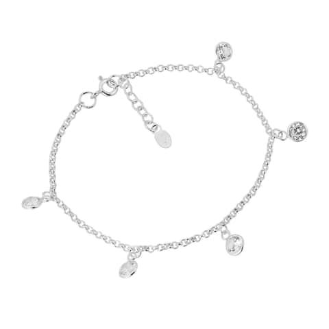 Handmade Captivating Cubic Zirconia Dangle Link .925 Sterling Silver Bracelet (Thailand)