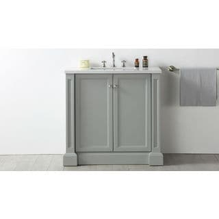 Legion Furniture 36-inch Cool Grey Single-sink Quartz-top Vanity