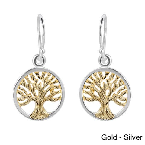 Handmade Two Tone Tree of Life Gold Over .925 Silver Dangle Earrings (Thailand)