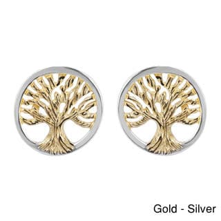 Tree of Life Gold Vermeil Over .925 Silver Post Earrings (Thailand)