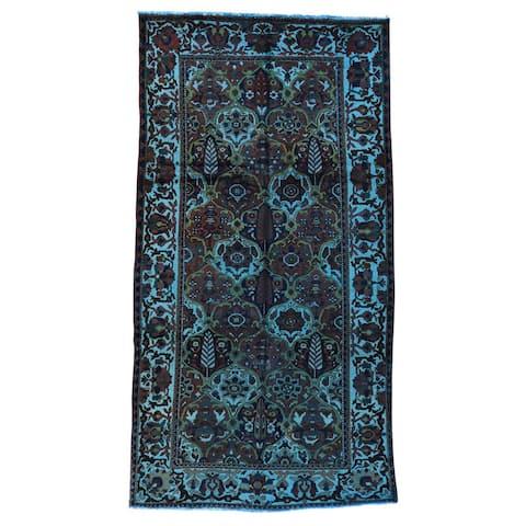 Shahbanu Rugs Persian Overdyed Black/Blue/Green Dakhtiari Oriental-style Wool Rug (5'3 x 9'8) - Multi