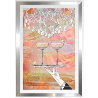 """BY Jodi """"Cheers Peach"""" Framed Plexiglass Wall Art"""