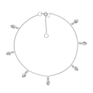 Handmade Romantic Cubic Zirconia Link Chain Sterling Silver Anklet (Thailand) (Option: Clear)
