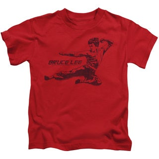Bruce Lee/Line Kick Short Sleeve Juvenile Graphic T-Shirt in Red