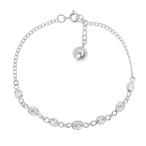 Handmade Charming Cubic Zirconia Jingle Bell .925 Sterling Silver Bracelet (Thailand)
