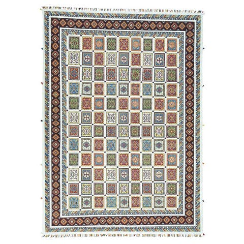 Shahbanu Rugs Neem Buft Soumak Multicolor Wool High-and-low Pile Hand-knotted Oriental Rug (10' x 14') - Multi