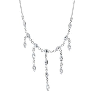 Waterfall Marquise Cubic Zirconia .925 Silver Necklace (Thailand)