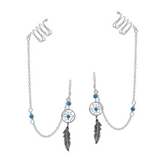 Handmade Dreamcatcher Chain Stone .925 Silver with Ear Cuff Earrings (Thailand)