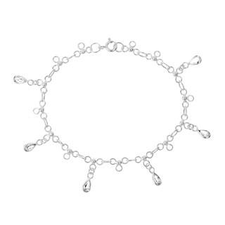 Dancing Teardrop Cubic Zirconia Link .925 Silver Bracelet (Thailand)