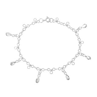 Handmade Dancing Teardrop Cubic Zirconia Link .925 Sterling Silver Bracelet (Thailand)