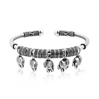 Balinese Five Dangle Elephant Sterling Silver Bracelet Cuff (Thailand)