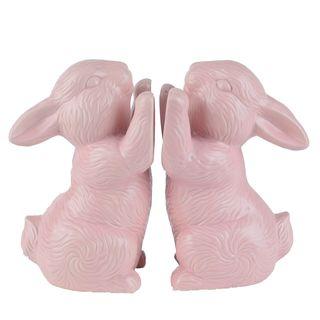 Flora & Fauna Pink Ceramic Bunny Bookends (Set of 2)
