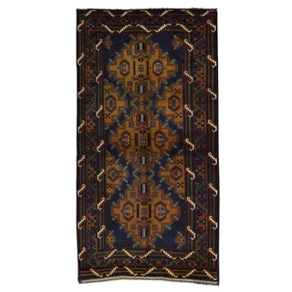 Blue Wool Afghan Baluch Tribal Hand-knotted Rug