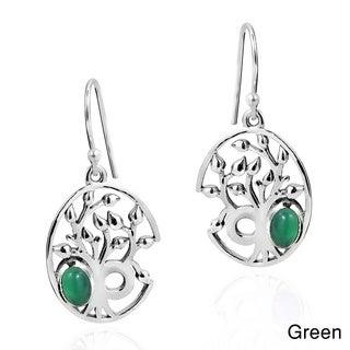 Delicate Tree of Life Oval Stone .925 Silver Dangle Earings (Thailand)