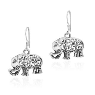 Artistical Swirl Elephant .925 Silver Dangle Earrings (Thailand)