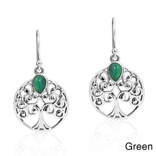Branches Tree of Life Stone .925 Silver Dangle Earrings (Thailand)