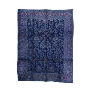 1800GetaRug Blue Wool Hand-knotted Overdyed Persian Mashad Vase Design Rug (9'10 x 12'10)