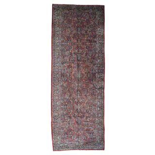 Wool Hand-knotted Antique Persian Sarouk Gallery-size Rug (9' x 25'7)