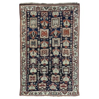 Persian Kurdish Blue/Multicolored Wool Hand-knotted Antique Full-pile Rug (6'6 x 10')