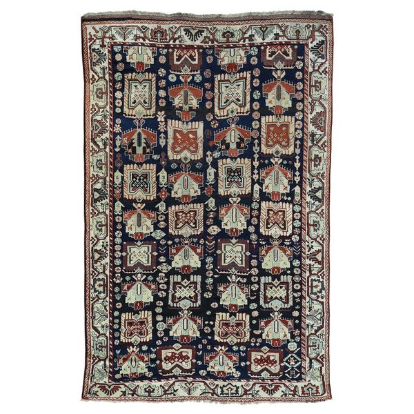Hand Knotted Persian Style Wool Pile Area Rug: Shop Persian Kurdish Blue/Multicolored Wool Hand-knotted